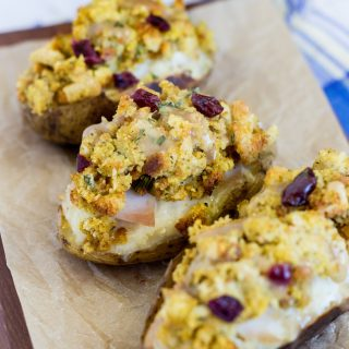 Looking for a delicious recipe using leftover turkey and stuffing from Thanksgiving? You will love this recipe using left over turkey and stuffing. Loaded Thanksgiving Potatoes are a twice baked potatoes loaded with turkey, stuffing and gravy.