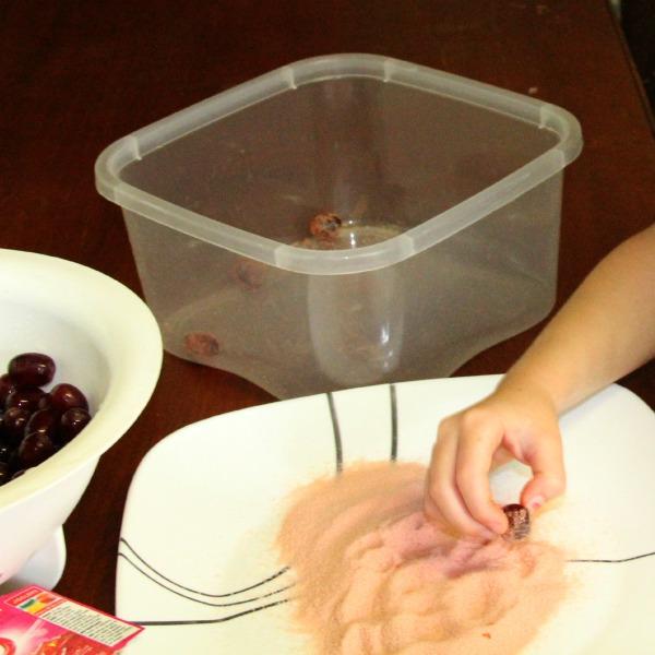 rolling grapes in Jello