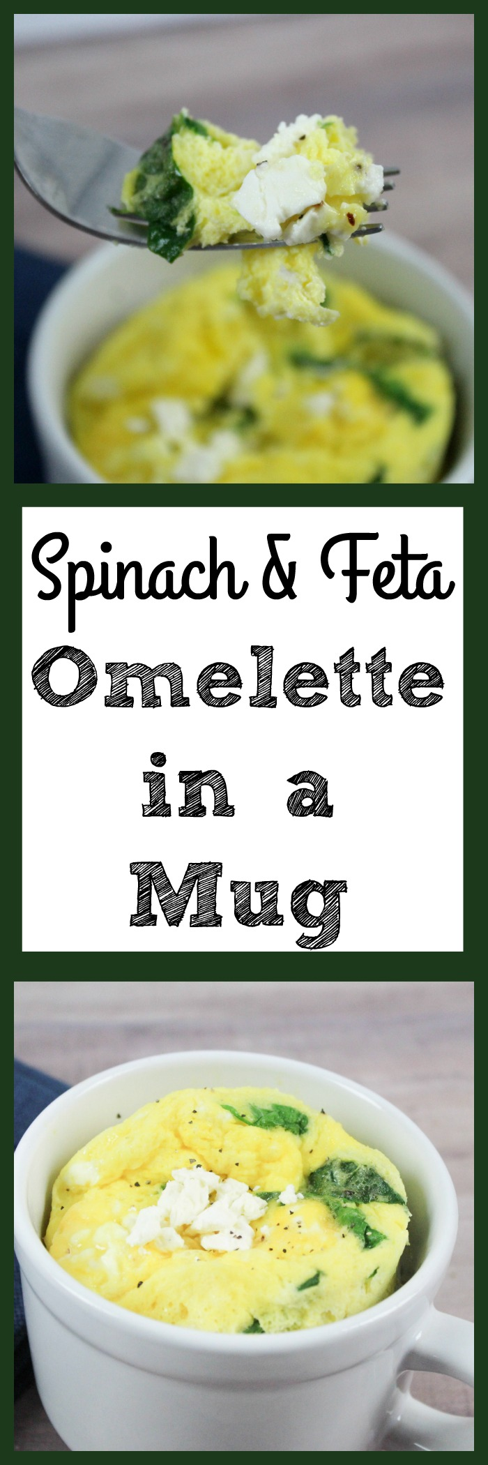 Breakfast is very important. Mornings are hard when you are short on time. Omelette in a mug is a quick breakfast idea. Spinach & feta omelette in a mug