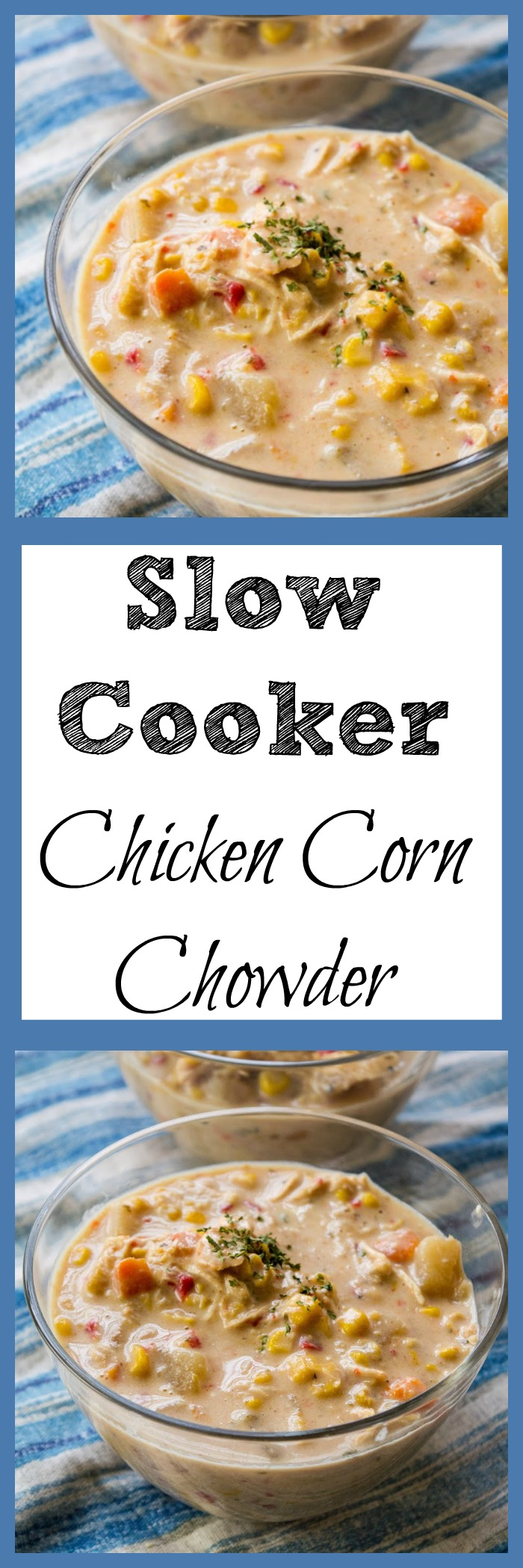 Looking for a chicken corn chowder recipe? This slow cooker soup is a copy cat recipe of WAWAs chicken corn chowder and it is soup heaven.