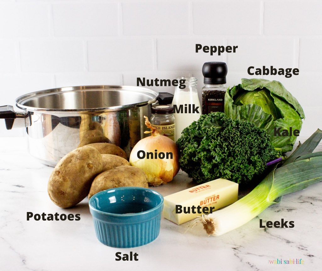 All of the ingredients to make Colcannon potatoes