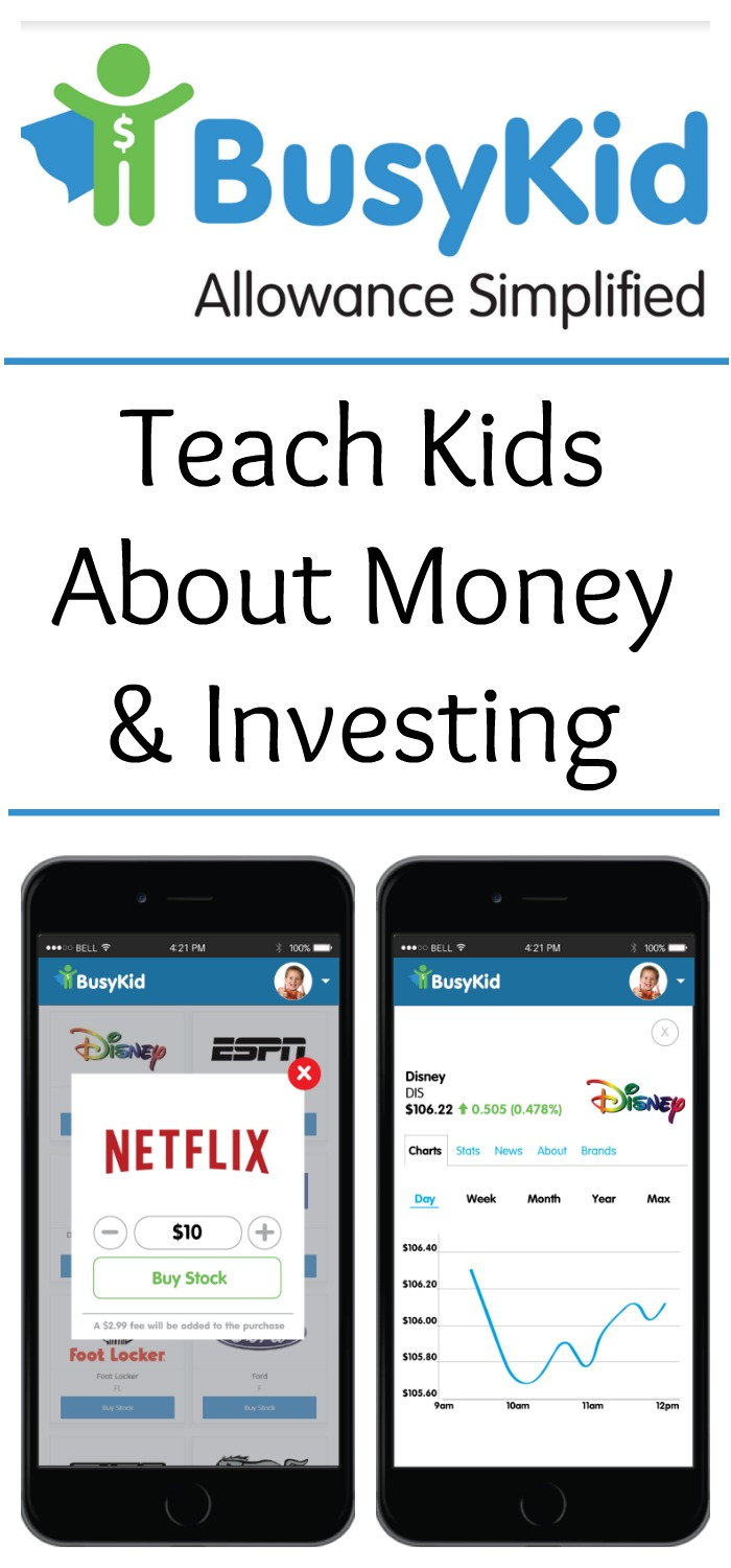 Want to teach kids about money and investing? Want a way to encourage kids to do chores and work hard? Use the BusyKid app to help teach kids about managing money and investing. AD