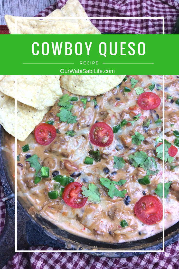 Looking for a good cheese dip recipe? This Cowboy Queso Dip recipe is perfect if you are looking for a spicy cheese dip or a cheese dip with meat in it.