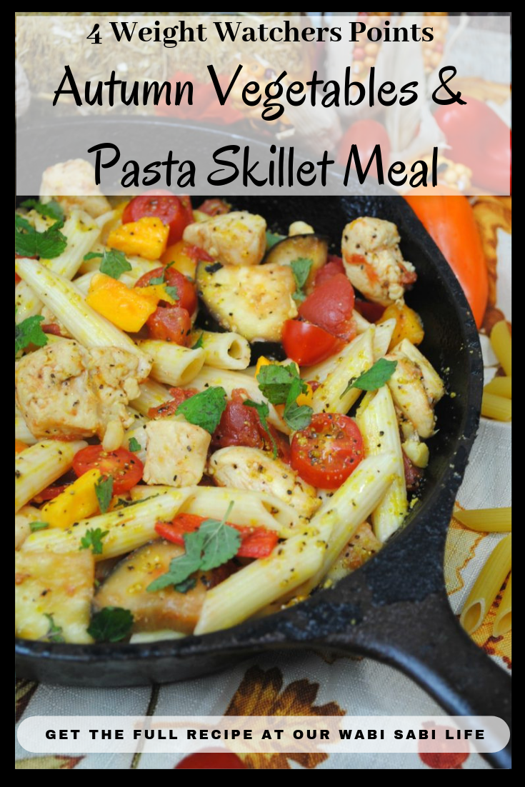 Looking for a simple skillet meal? Skillet meals are great for a quick one pan dinner. This Autumn Vegetables and Pasta Skillet Meal brings together all the flavors of fresh fall vegetables with the simplicity of skillet meals. Following Weight Watchers? This is only 4 points per serving.