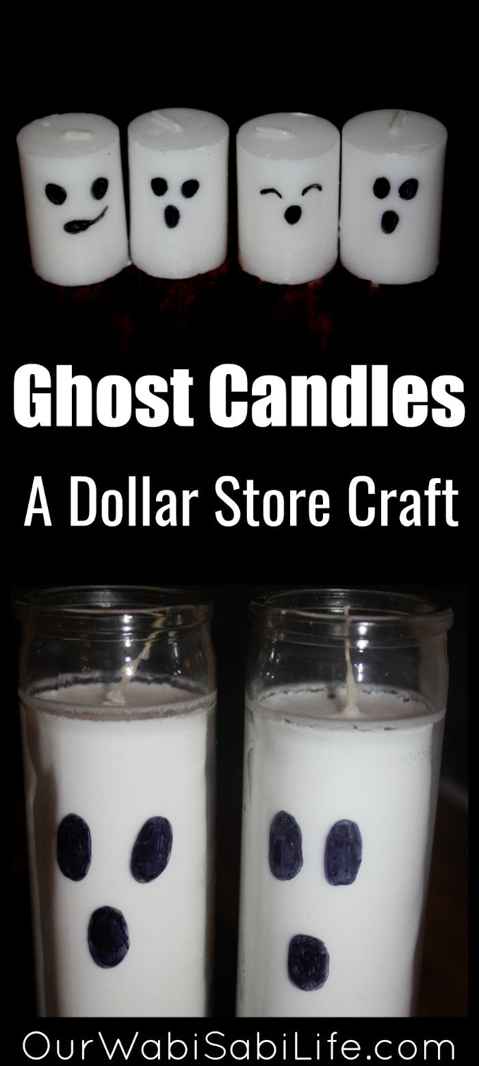 Looking for a simple Halloween decoration? Make these Ghost Candles, dollar store craft, as a Halloween party decoration. #Halloween #partyDecoration #Craft #DollarStore