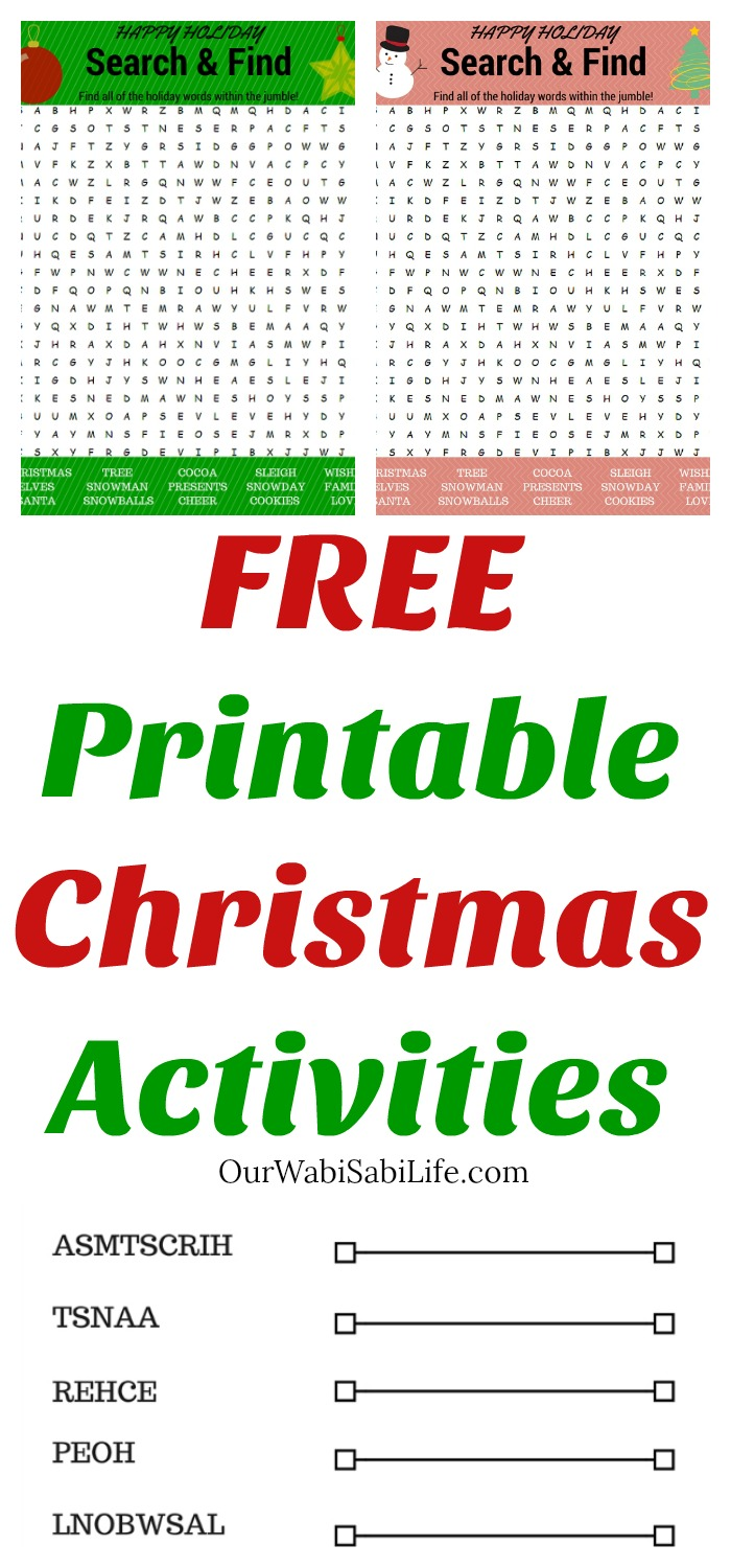 Looking for fun Christmas activities for kids? Get these free Christmas printable activities to help kids stay in the holiday spirit. Kids will love these 2 printable Christmas Word Search puzzles and Christmas Word Scramble. #printable #crafts #kids #wordsearch #Christmas