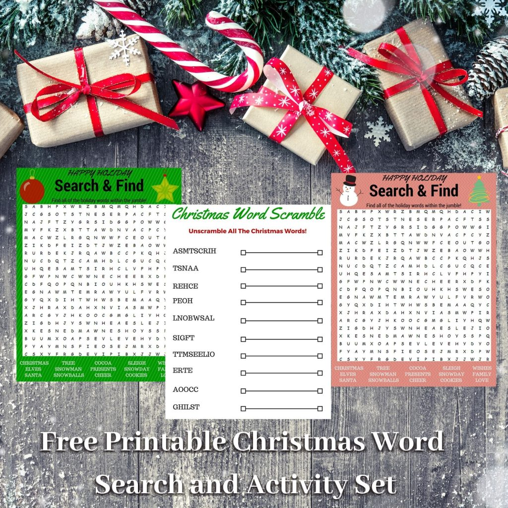 Free Printable Christmas Word Search and Activity Set