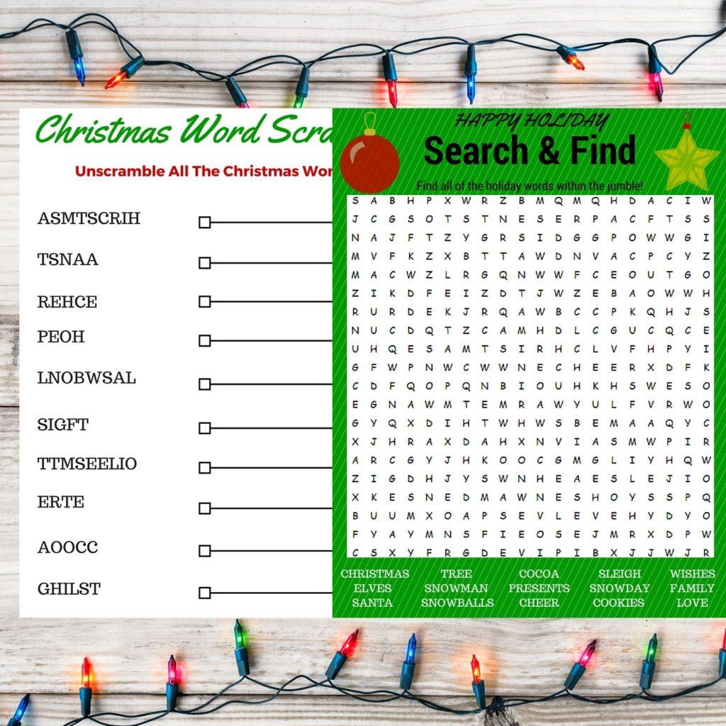 Free Printable Christmas Word Search and Activity Set