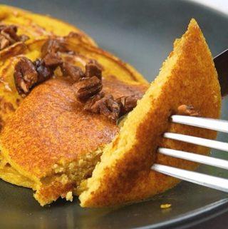 pumpkin pancakes bite on a fork