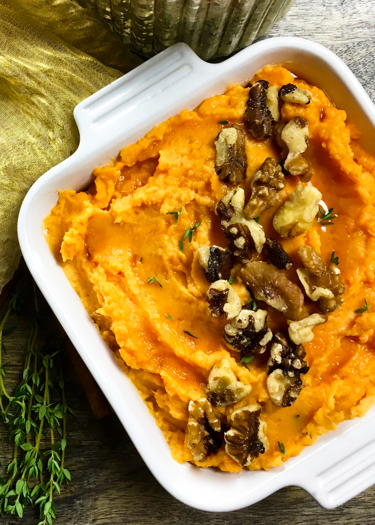 These rich and creamy mashed sweet potatoes are the perfect side dish for just about any holiday meal. However, these savory sweet potatoes so quick and easy to make, you'll want to enjoy them throughout the year. #Thanksgiving #Christmas #Savory #SideDish