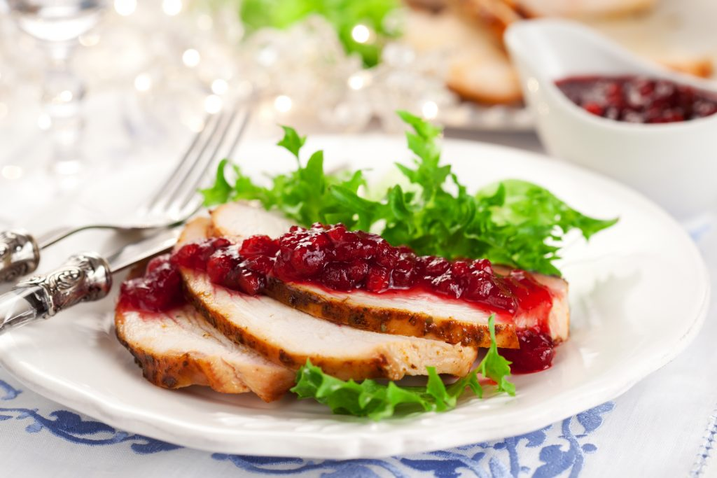 Turkey breast with sugar free cranberry sauce