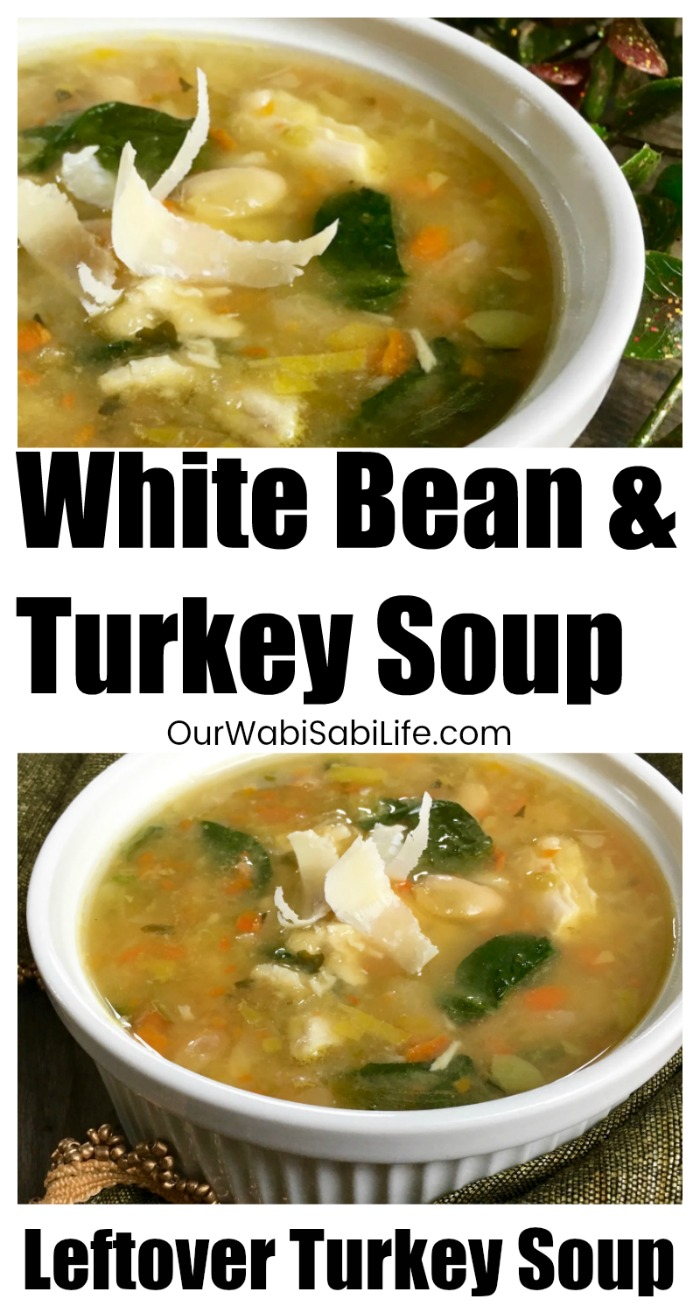 This tasty leftover turkey soup is a great way to use up leftover holiday turkey. Traditional egg noodles are replaced with white beans and an assortment of fresh vegetables for a hearty and delicious dish. Enjoy by itself for a light lunch or pair with a crisp, green side salad for a more satisfying meal. Following Weight Watchers? This soup is only 1 point per serving. #WeightWatchers #soup #dinner