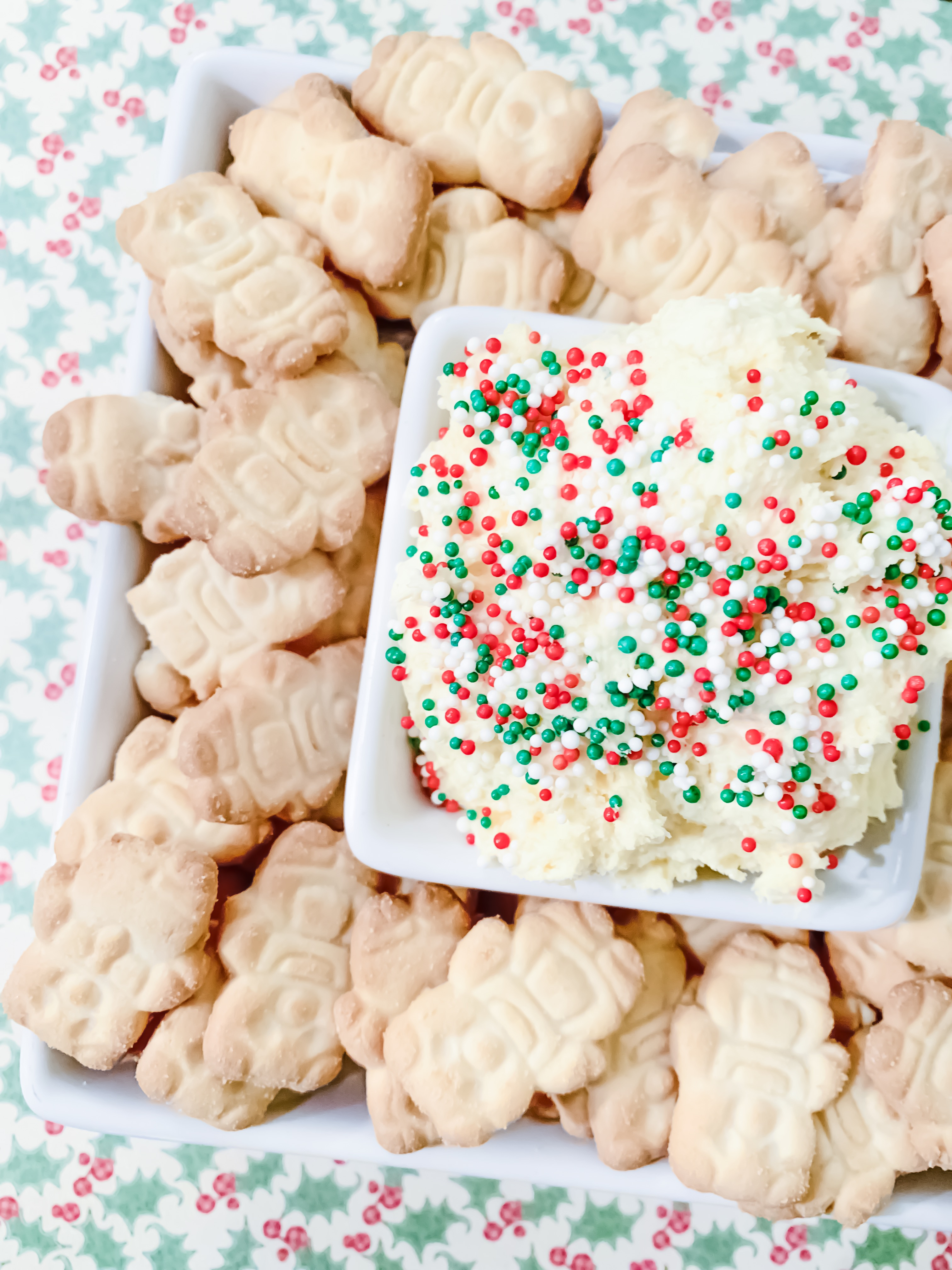 Looking for a delicious Dunkaroo Dip recipe? Dunkaroo Dip is a great sweet dip for parties and get togethers. This version is made as a Christmas treat but it is easily changed to a fun anytime dip by changing the sprinkles.