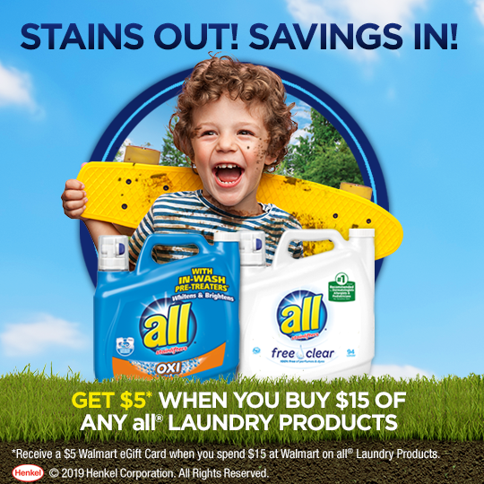 Right now when you spend $15 on all® laundry products you can receive a $5 Walmart eGift Card. Get the details!