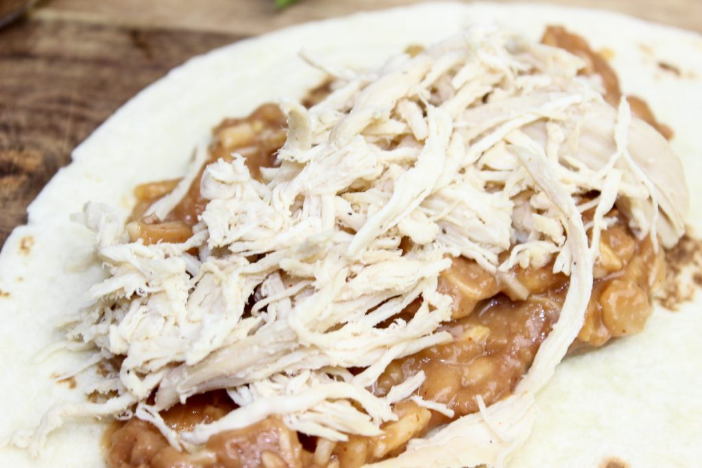 shredded chicken and sauce mixture