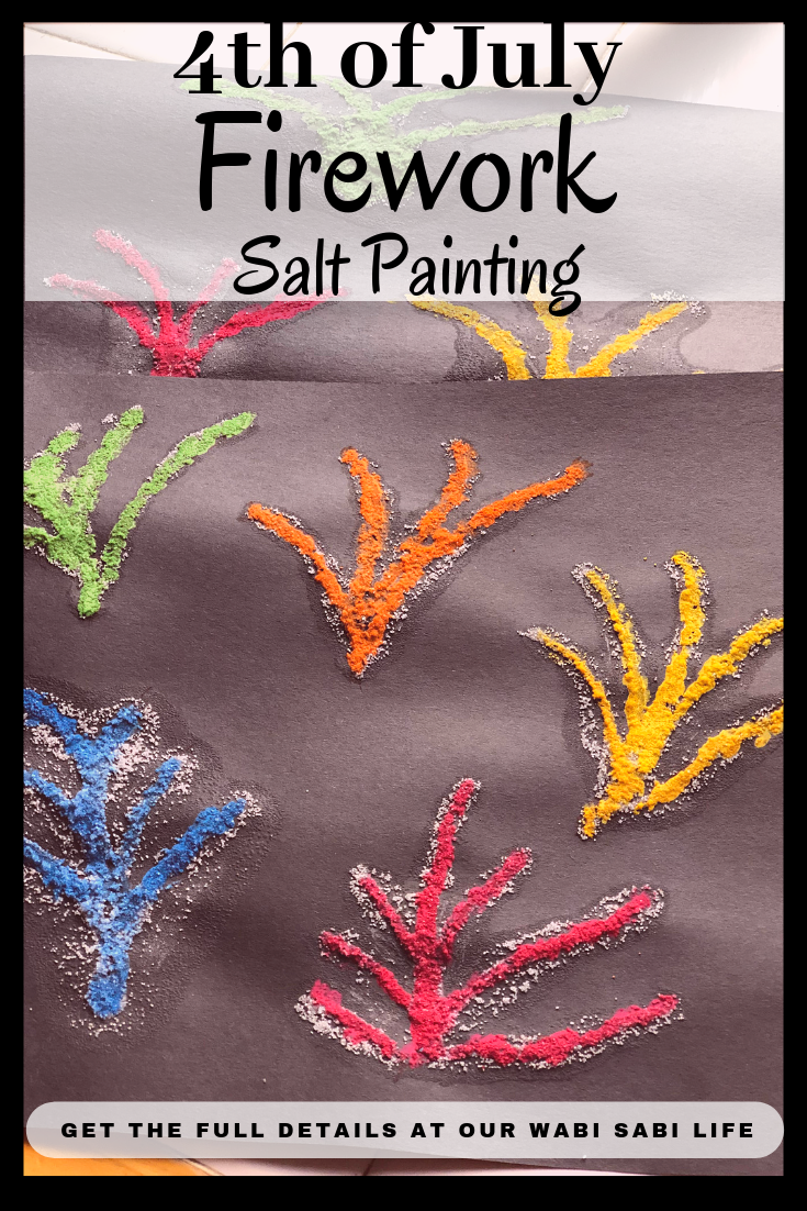 Looking for a fun summer craft? Want to celebrate Memorial Day or 4th of July with a fireworks craft? Try this simple Fireworks Salt painting. It is a quick and easy craft that kids will love. Create some salt art today.  #painting #4thofjuly #saltpainting #fireworks