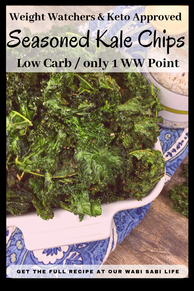 Crispy Kale Chips are healthier than potato chips and for someone eating a low calorie, following Weight Watchers, low carb or keto diet, Kale Chips are great for having a crunchy go-to snack. Try this easy recipe for tasty kale chips. These tasty Kale chips are only 1 Weight Watcher point.