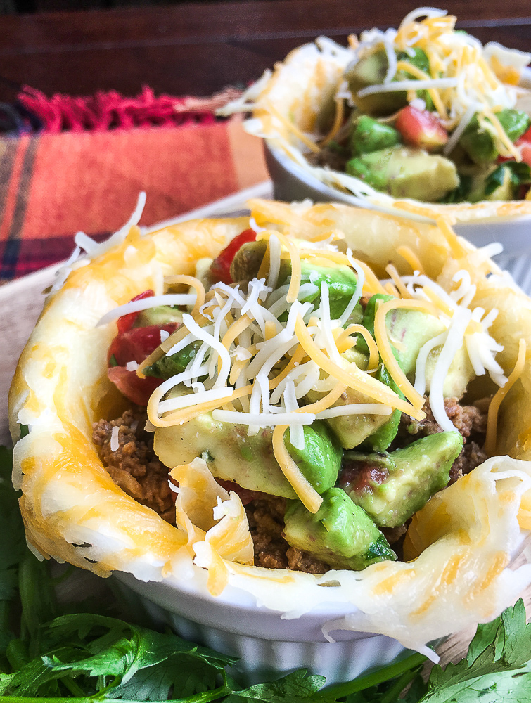 keto taco cup with avocado salsa