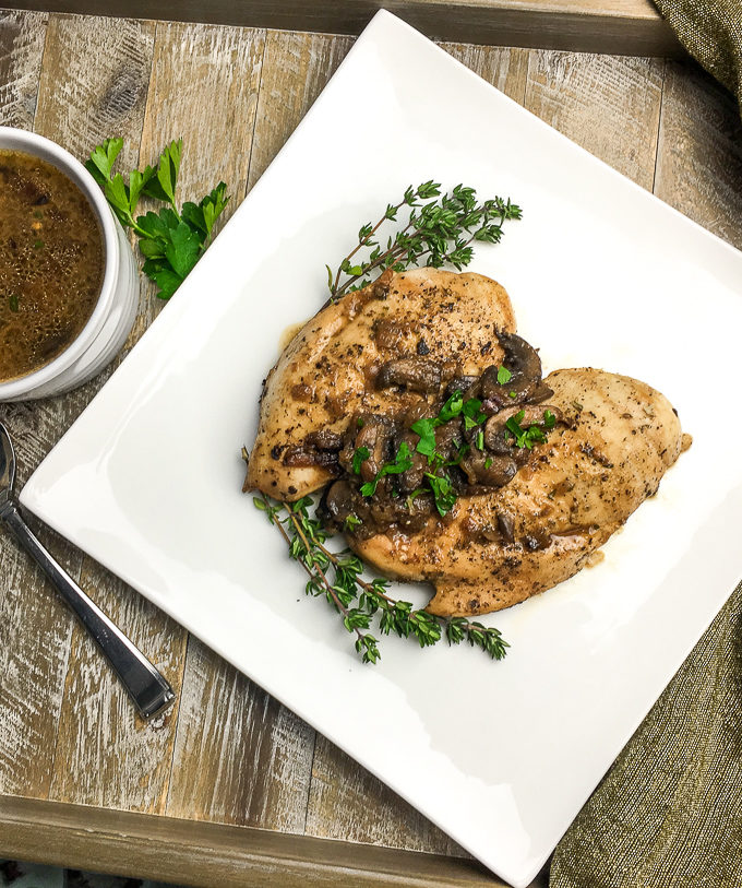 herbed chicken with a mushroom sauce