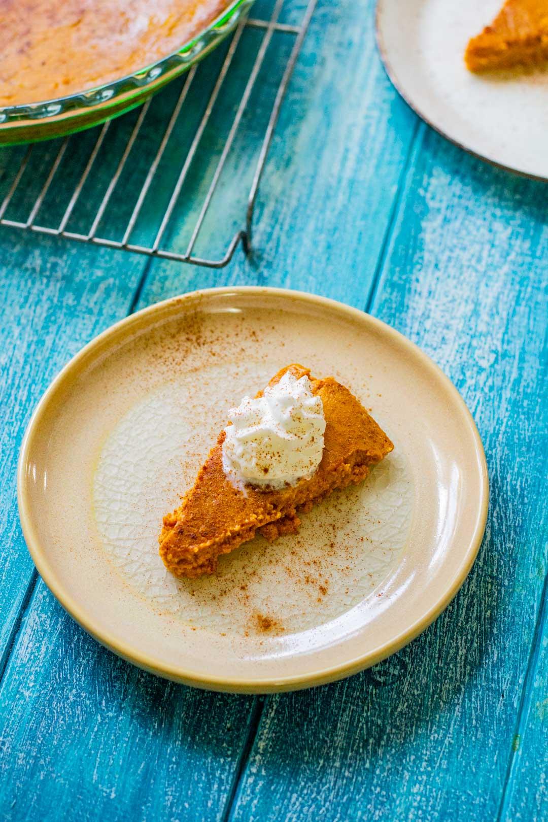 crustless pumpkin pie on w hite plate