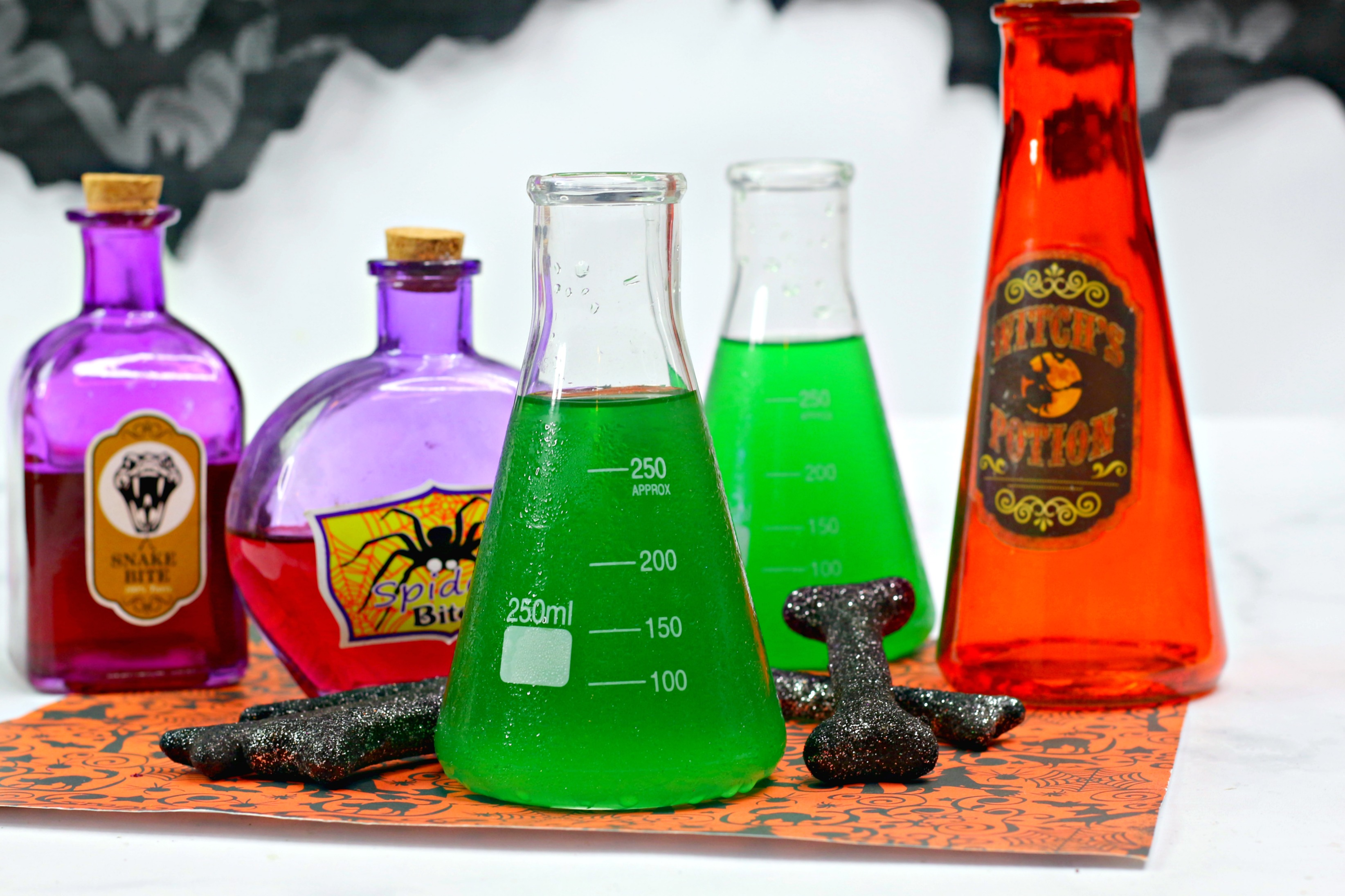 Halloween alcoholic punch served in a science flask