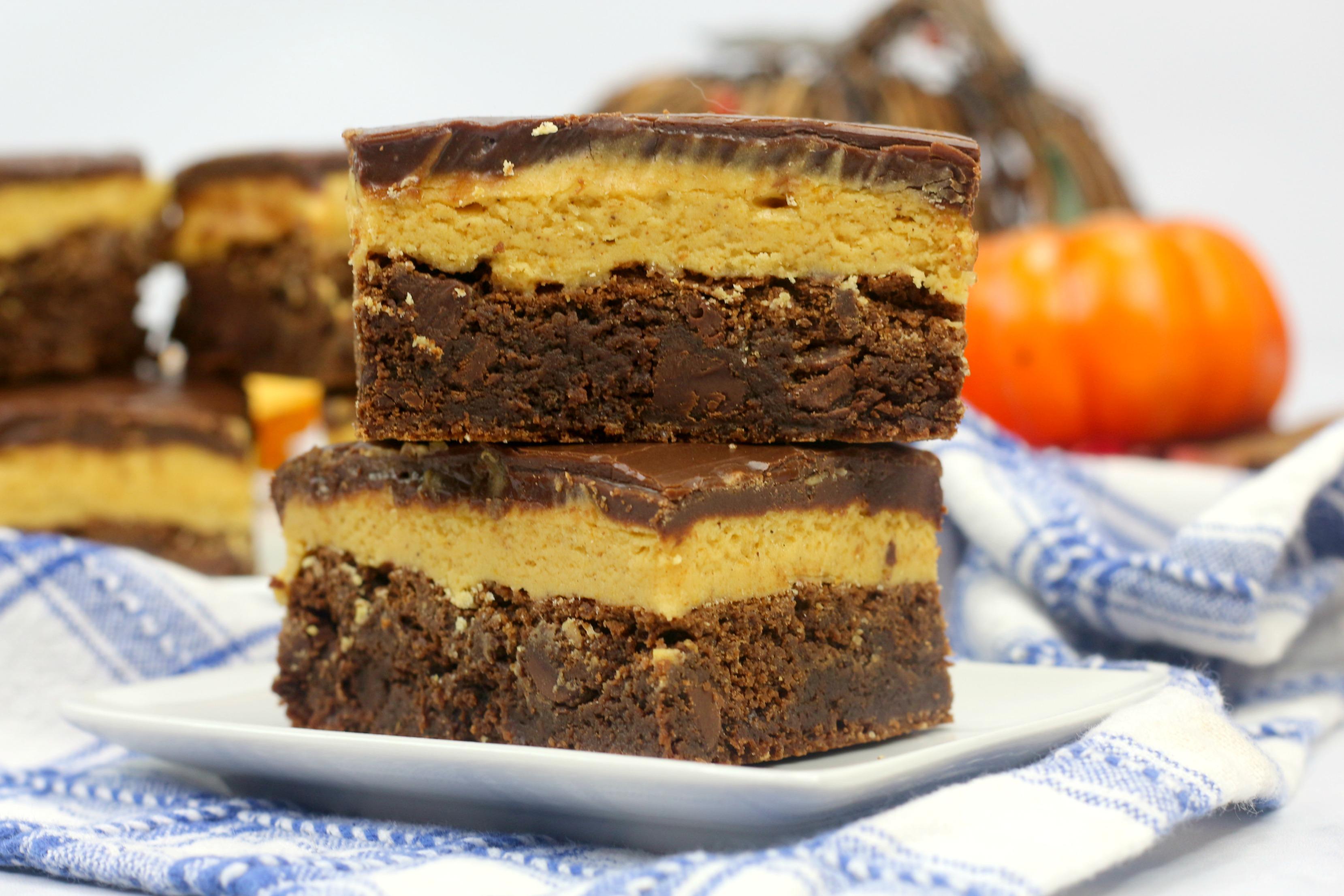 three layer pumpkin brownies