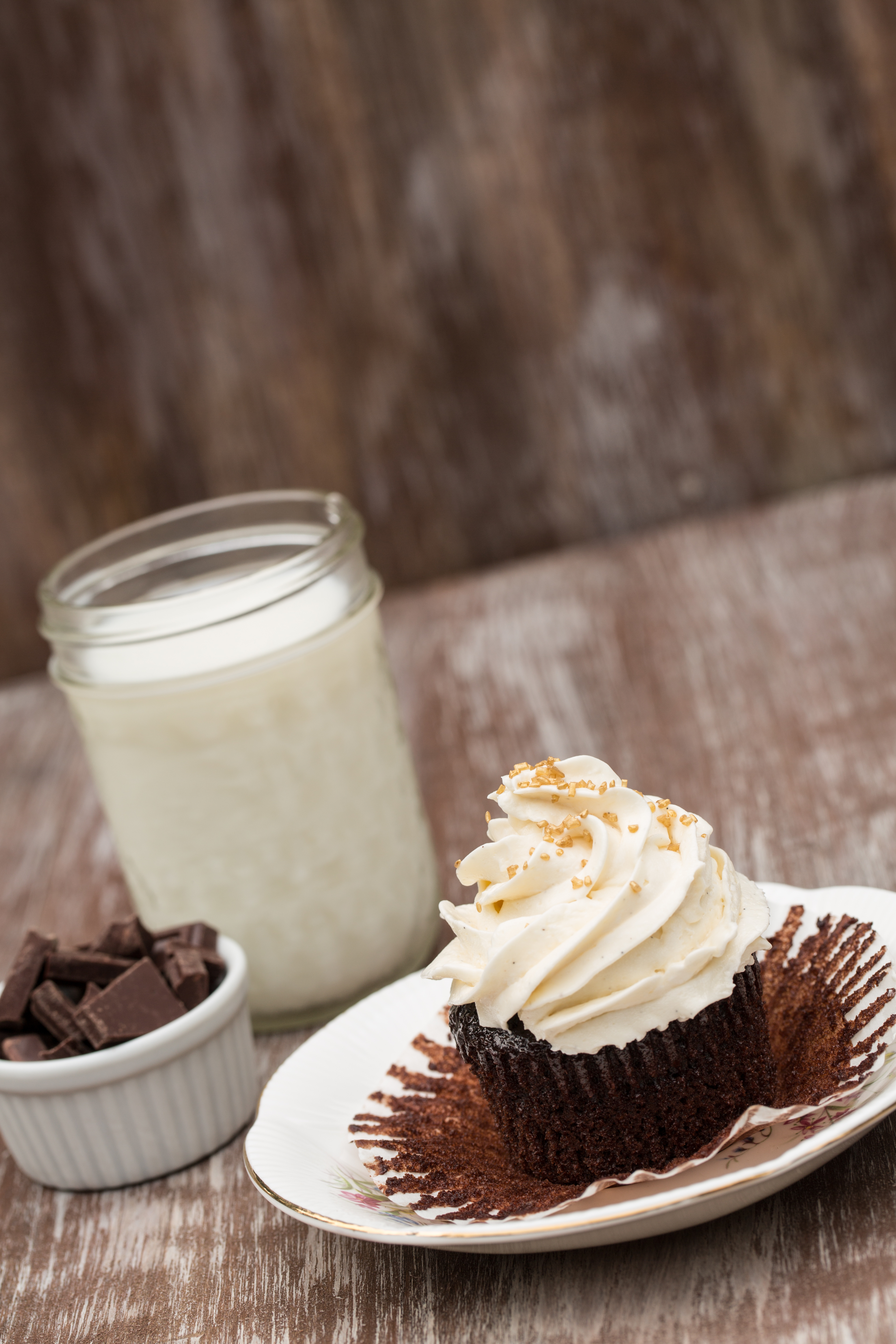 chocolate cupcake with milk and chocolate chunks