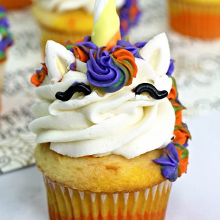 unicorn cupcake with witch colors
