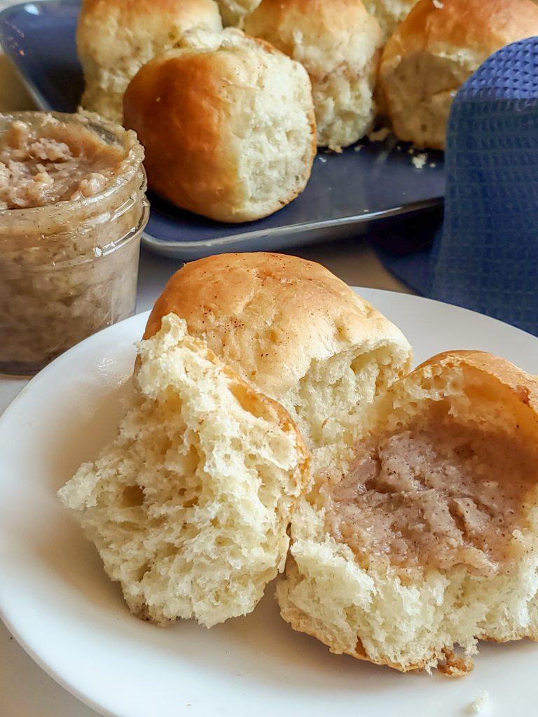 homemade rolls with cinnamon honey butter