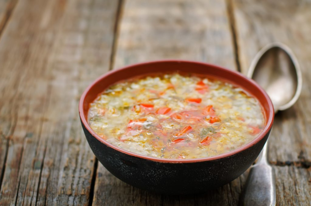 bowl of turkey rice soup