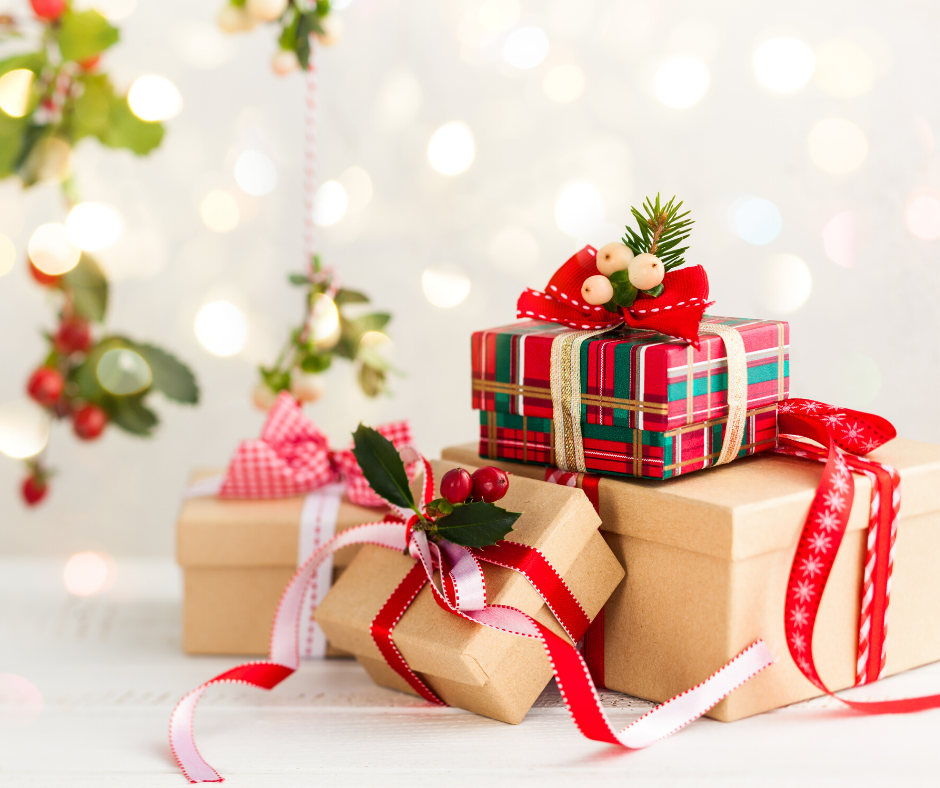 4 gift rule presents with a sparkling background