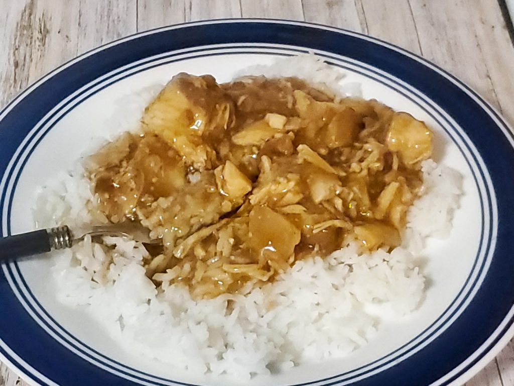 orange chicken on rice