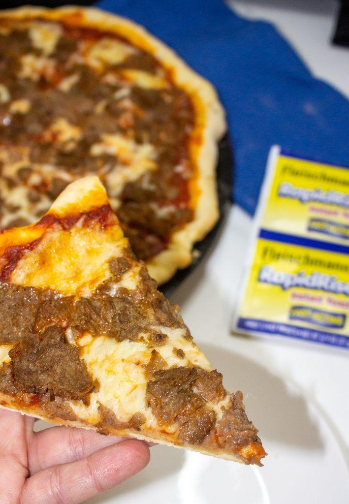 slice of cheesesteak pizza