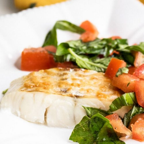 Parmesan Baked Haddock with Fresh Tomatoes and Basil