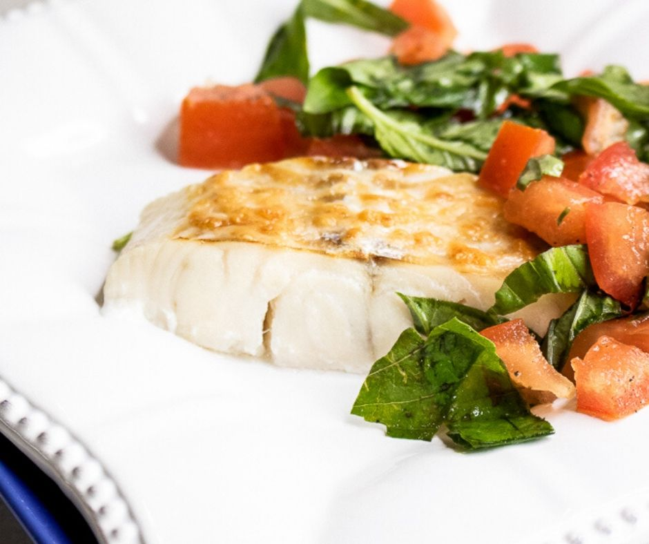 Parmesan Baked Haddock with Fresh Tomatoes and Basil