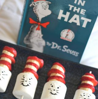 cat in the hat snack on a blue plate
