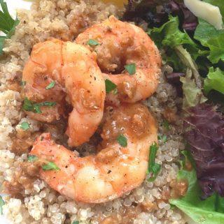 lemon garlic shrimp over quinoa