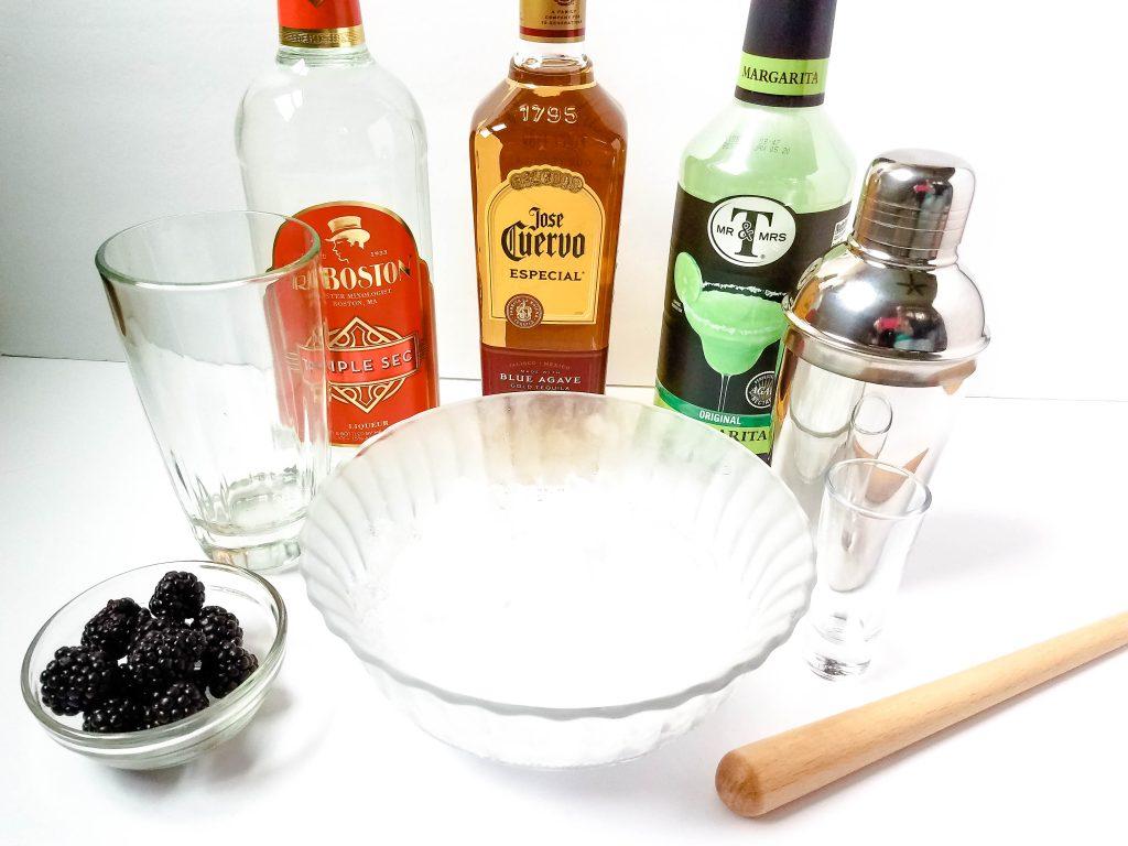ingredients for blackberry margaritas