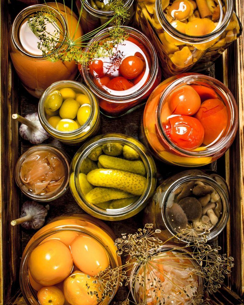 overhead of jarred vegetables