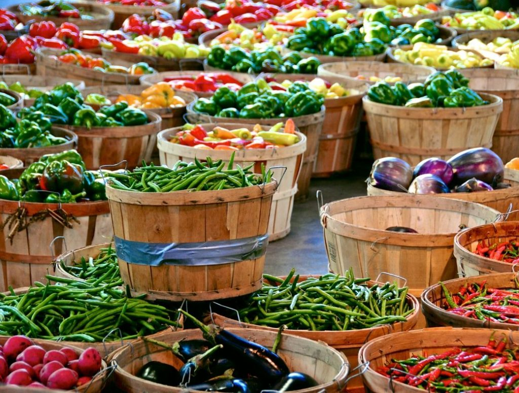 produce in large baskets