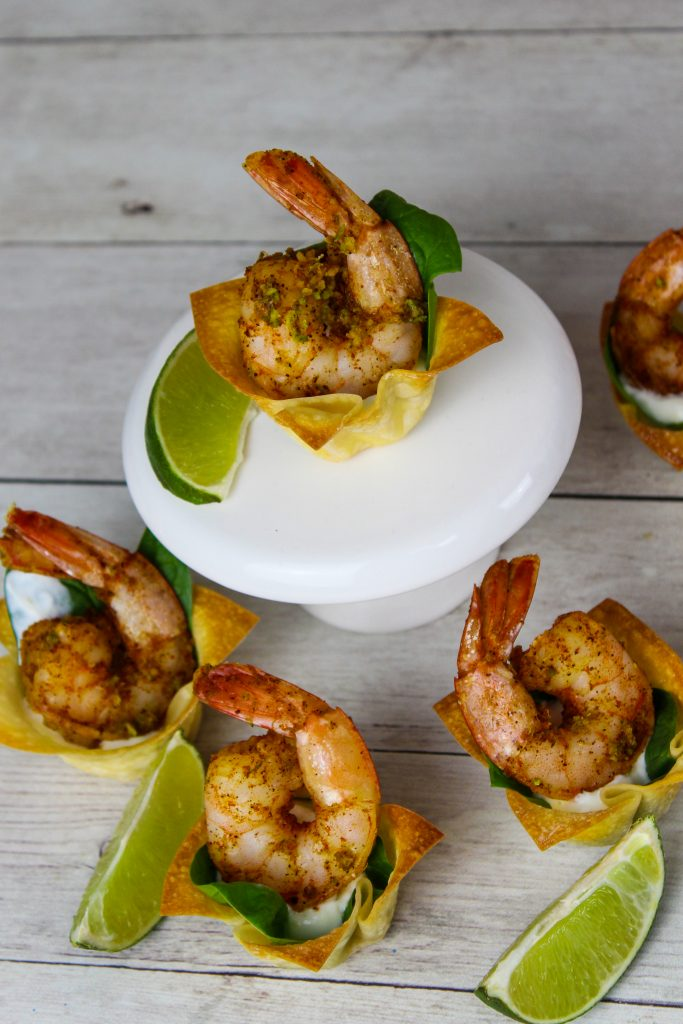 Shrimp Wonton Cup Appetizers on a stand