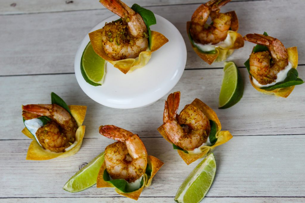 Shrimp Wonton Cup Appetizers with limes