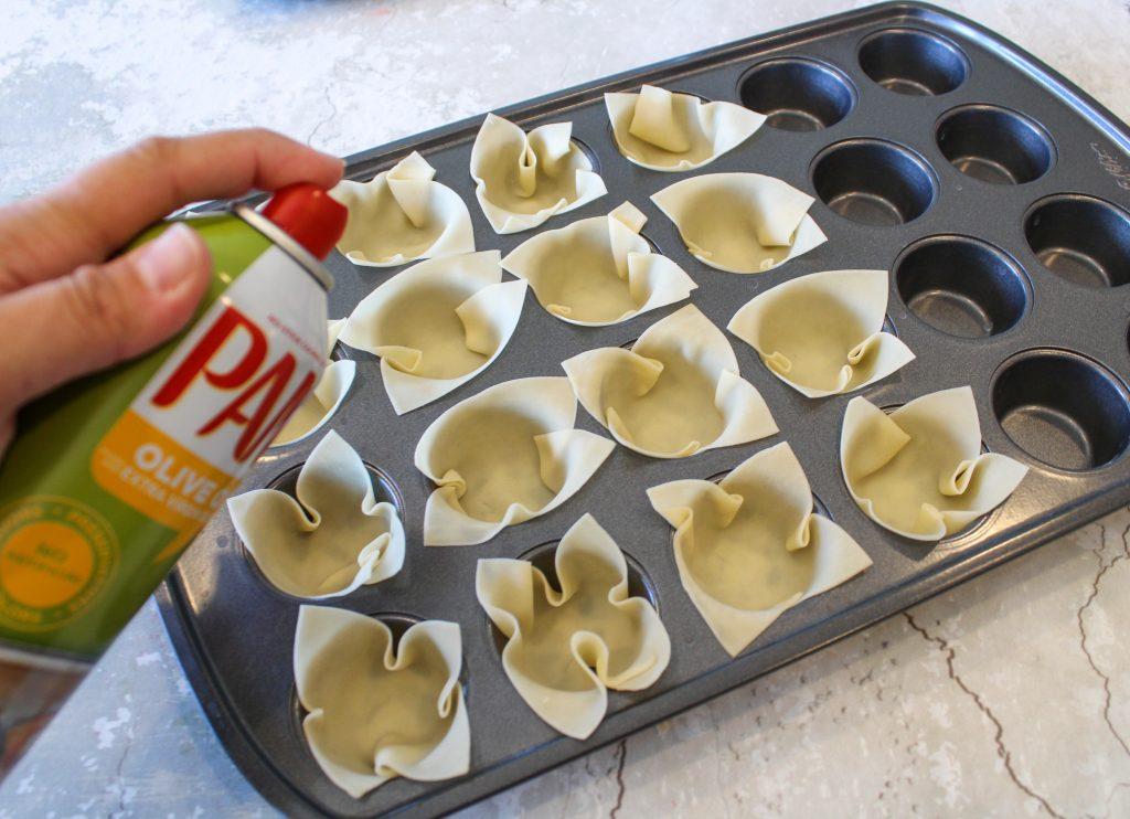 wontons in a cupcake pan