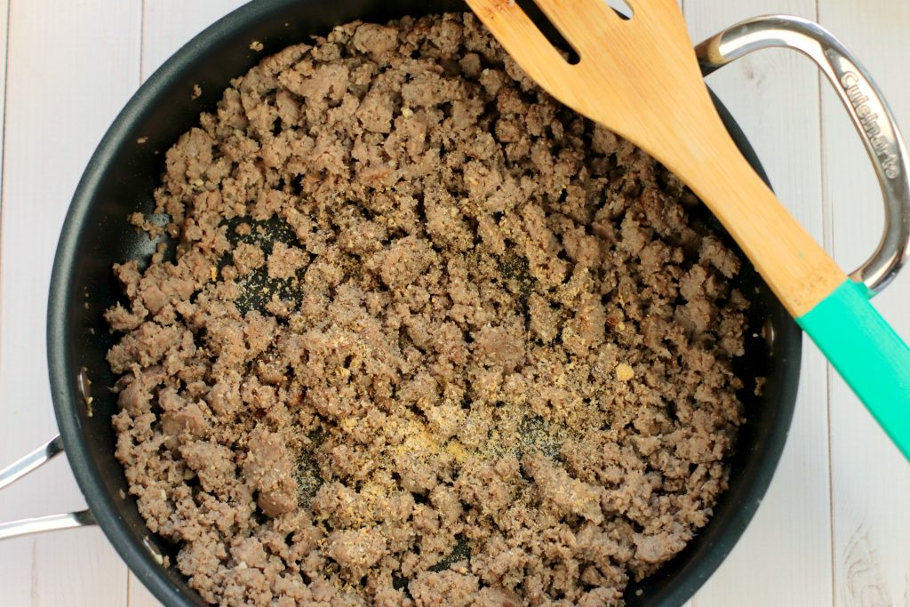 cooked ground turkey in a frying pan
