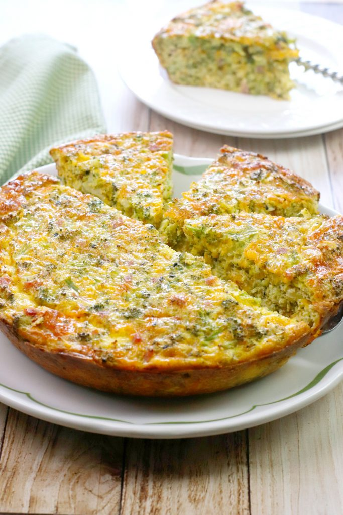 Ham and Cheese Quiche with Broccoli