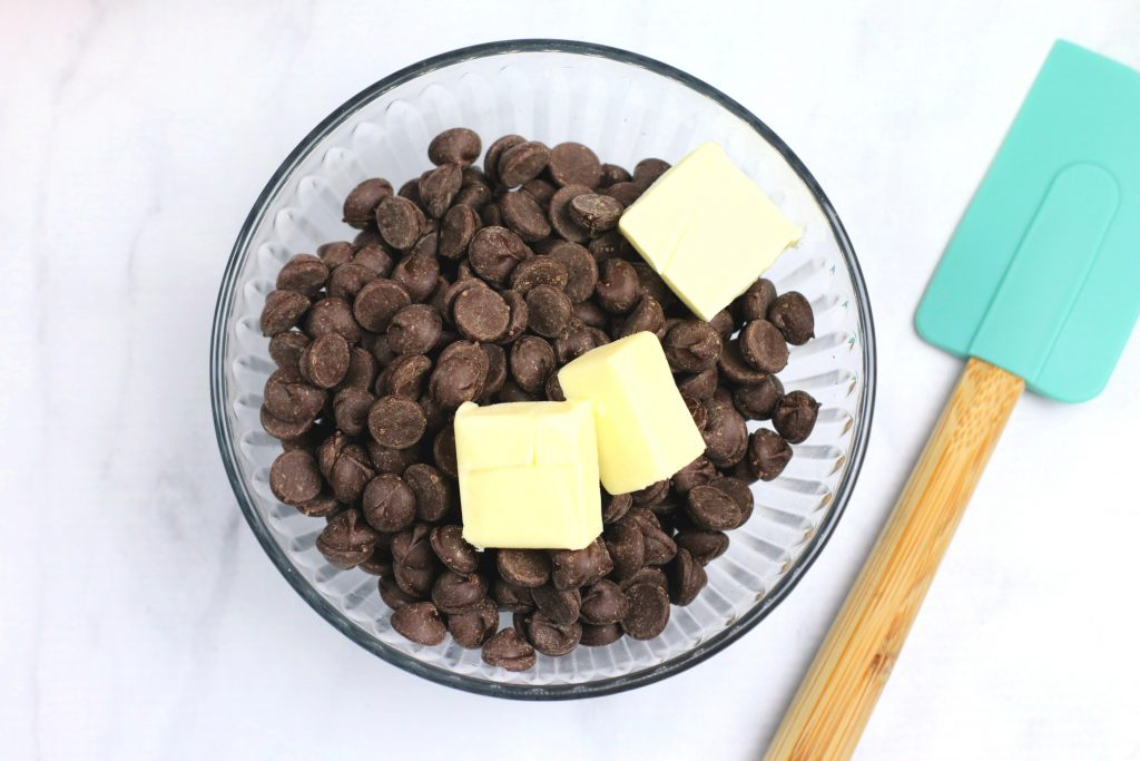 chocolate chips and butter in a bowl