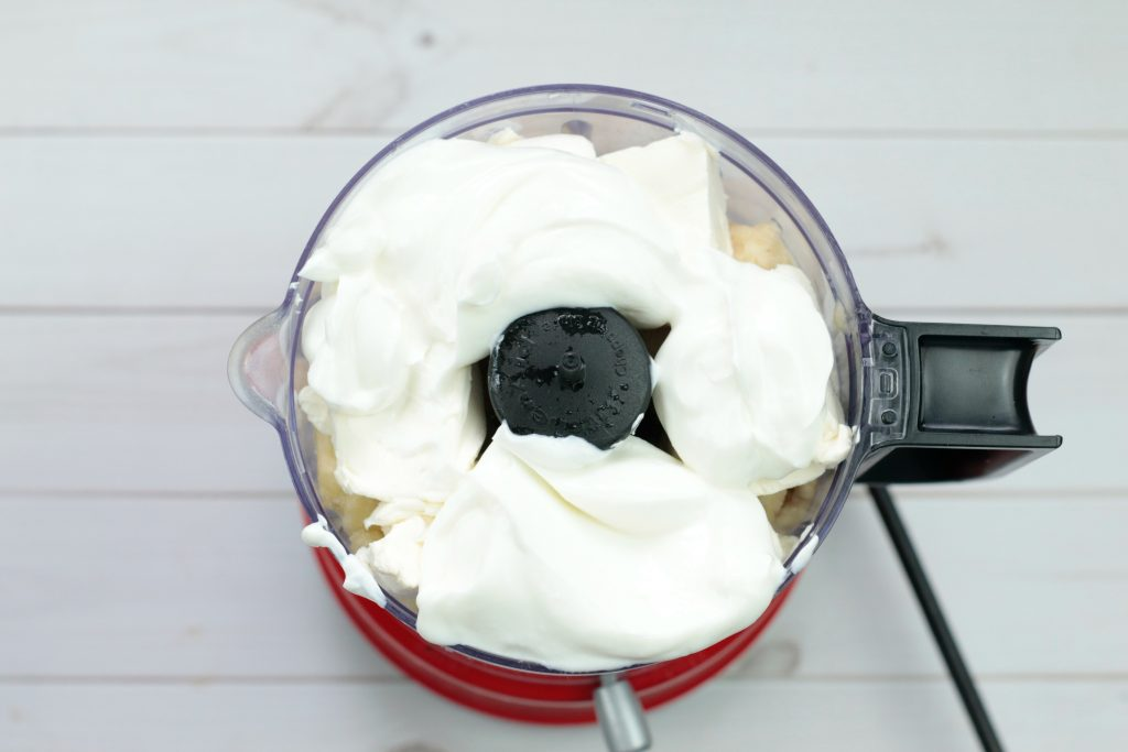 ice cream ingredients in the food processor