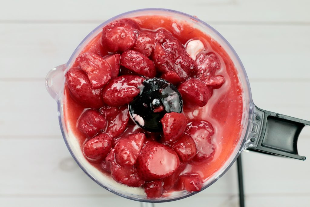 add strawberries to the food processor