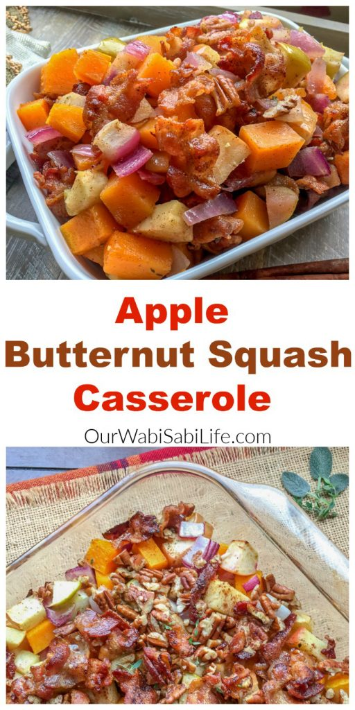 pinterest image for apple butternut squash casserole
