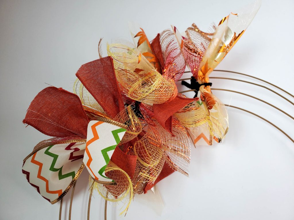 pieces of ribbon on wreath